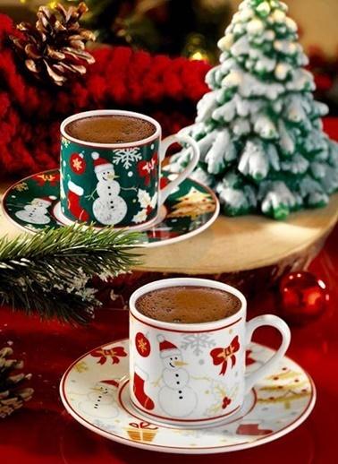 Kütahya Porselen Kardan Adam Kahve Takımı Renkli